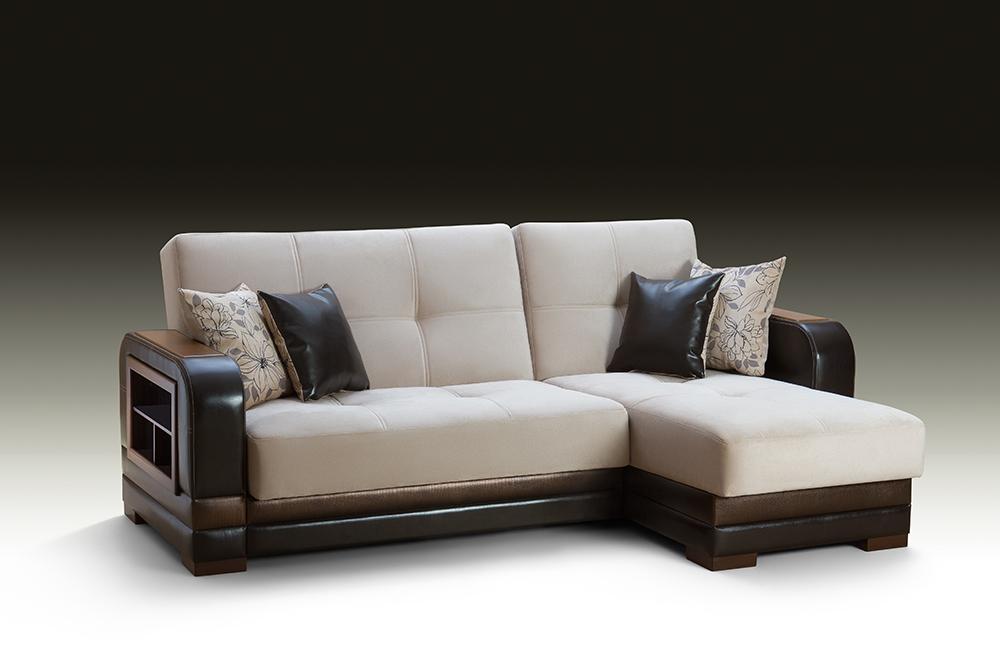 Бело-коричневый диван с ортопедическим матрасом