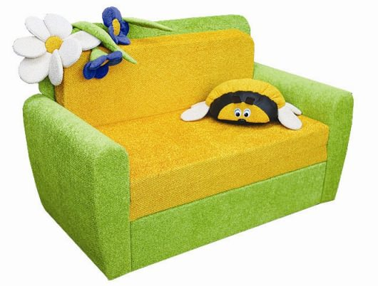 Зелёно-желтое детское кресло-кровать