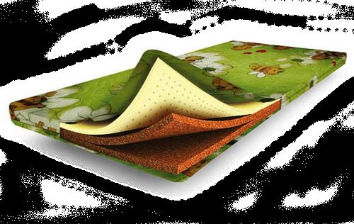 Двусторонний зеленый матрас из пенополиуретана с кокосовой койрой