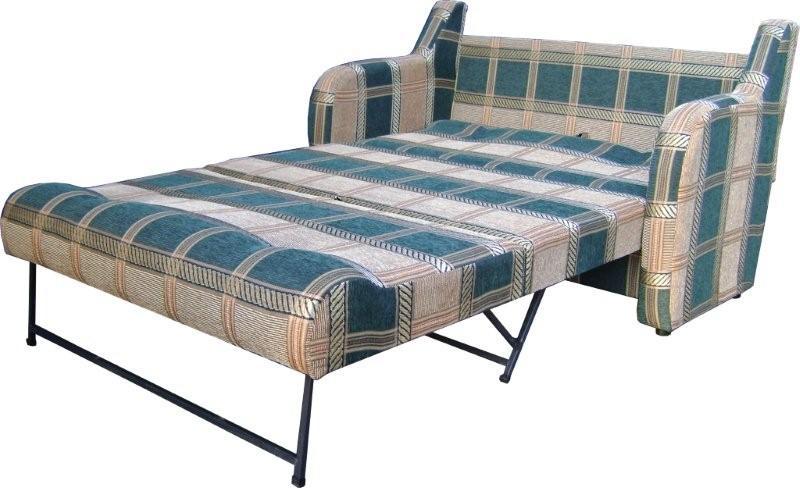Клетчатый бежево-зеленый диван-кровать