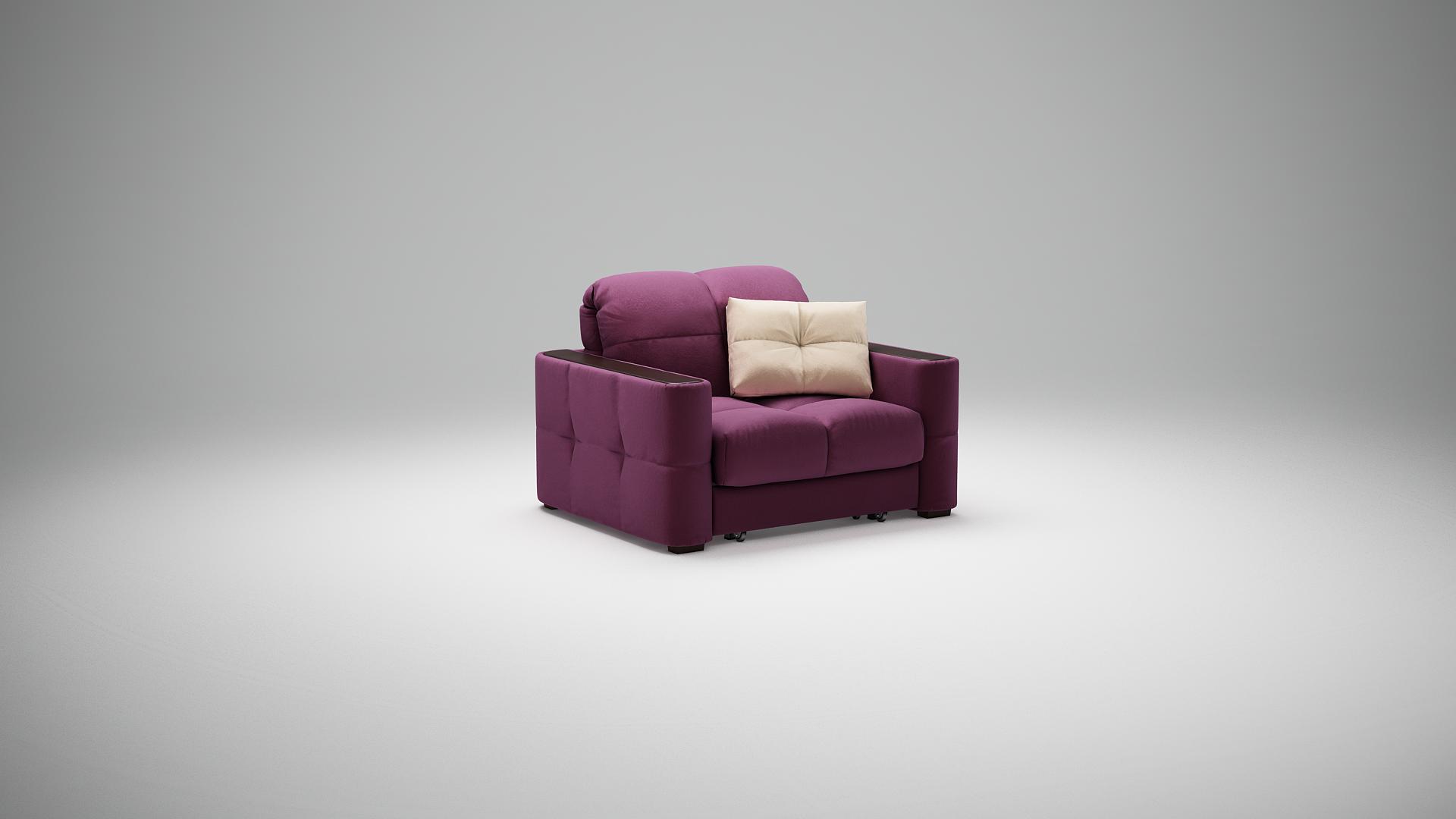 Красное кожаное кресло-кровать