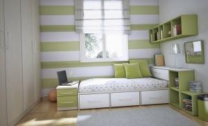 Бело-зеленая кровать в комнату подростка